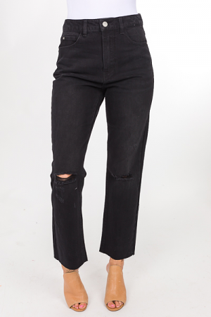 Knee Slit Straight Jean, Black