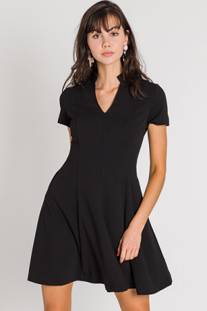 Ruffle Neck Dress, Black