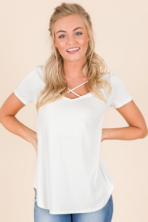 Solid Jersey Round Neck Top, Ivory