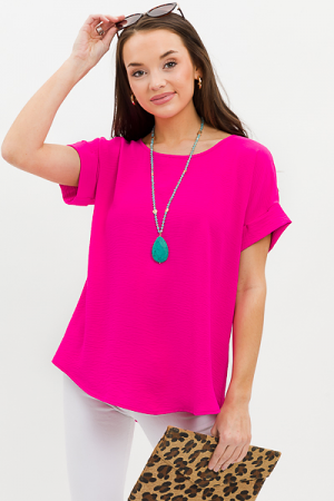 Brittany Basic Blouse, Hot Pink