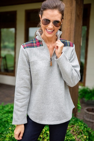Nora Plaid Pullover, Grey Navy