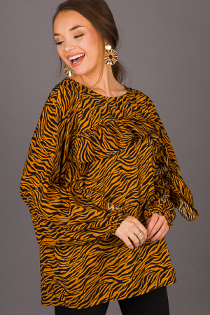 Ruffle Top Tiger Tunic