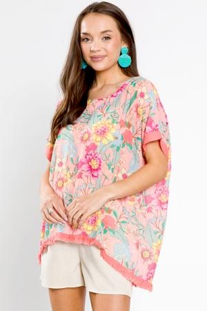 Linen Trim Floral Tunic, Flamingo