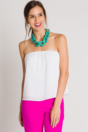 Crepe Tube Top, White