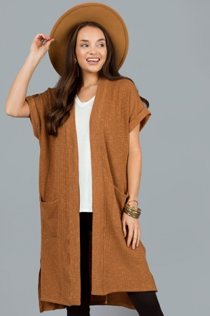 Short Sleeve Rib Cardi, Camel