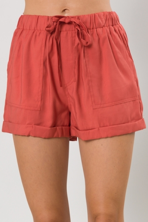 Cuffed Twill Shorts, Rust