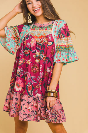 Berry Boho Print Dress