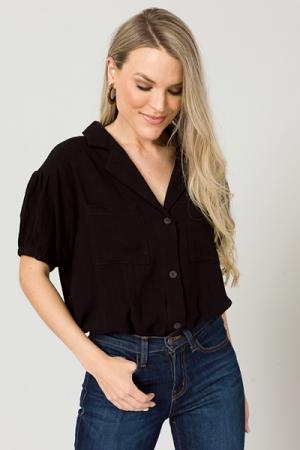 Linen Button Bodysuit, Black