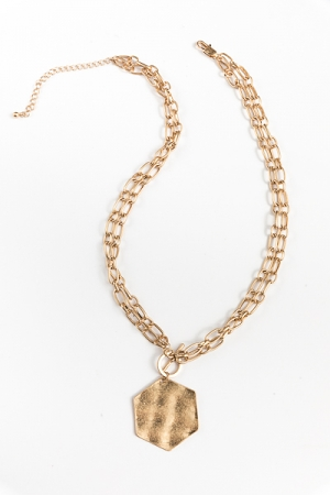 Double Chain Hexagon Necklace, Gold