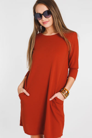 Classic Casey Pocket Dress, Rust