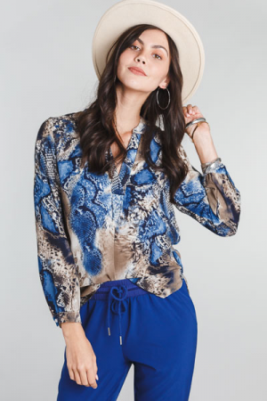 Blue Snake Blouse
