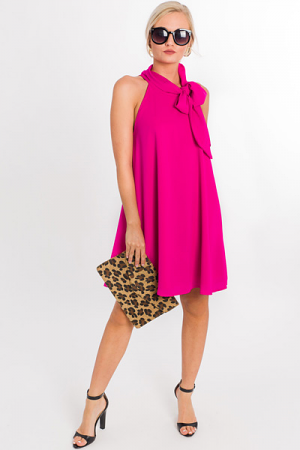 Bow Down Swing Dress, Fuchsia