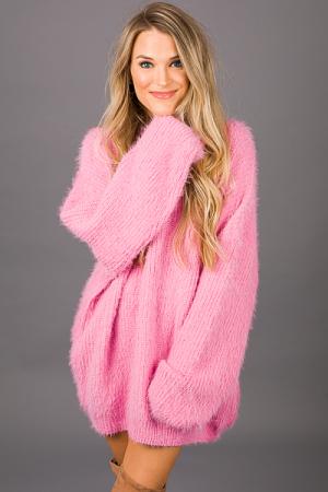 Solid Eyelash Sweater, Pink