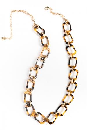 Panama Chain Links Necklace, Tortoise
