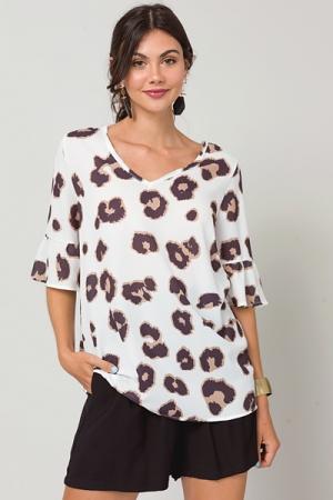 Leopard Spots Blouse, White